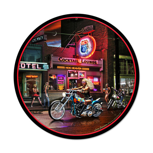 Biker Bar Metal Sign 14 x 14 Inches