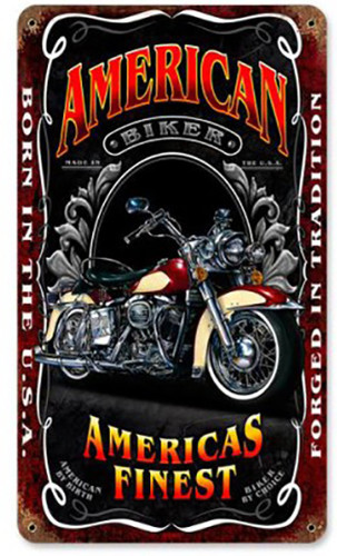 American Biker Metal Sign 8 x 14 Inches