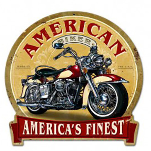 American Biker Metal Sign 16 x 15 Inches