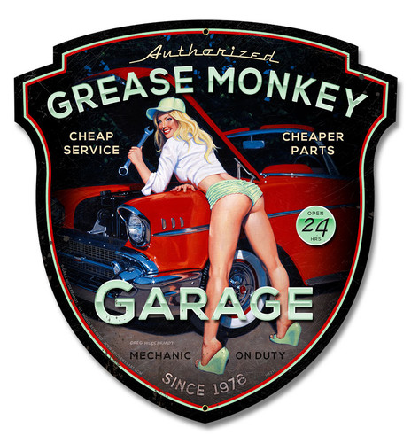 Grease Monkey Metal Sign 15 x 16 Inches
