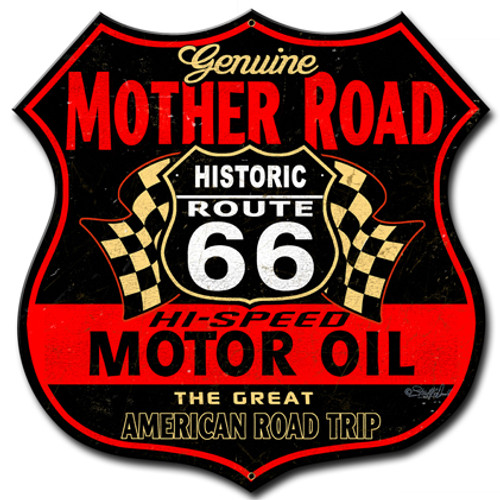 Route 66 The Mother Road Metal Sign 14 x 14 Inches