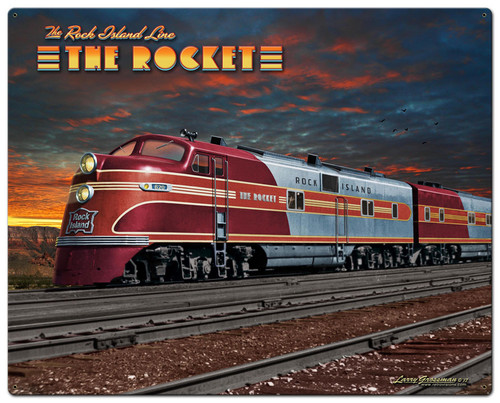 Rocket Train Metal Sign 30 x 24 Inches