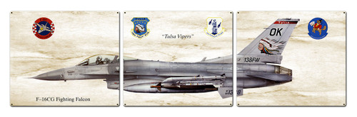 F-16cg Fighting Falcon Metal Sign 48 x 14 Inches