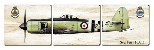Sea Fury Metal Sign 48 x 14 Inches