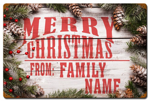 Merry Christmas From Family Metal Sign - Personalized 24 x 16 Inches