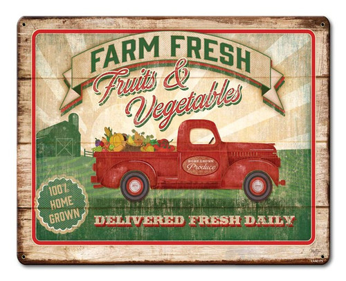Farm Fresh Fruits And Vegetables Metal Sign 15 x 12 Inches