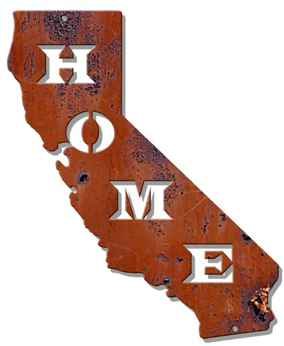 Home California Rust Metal Sign 23 x 28 Inches