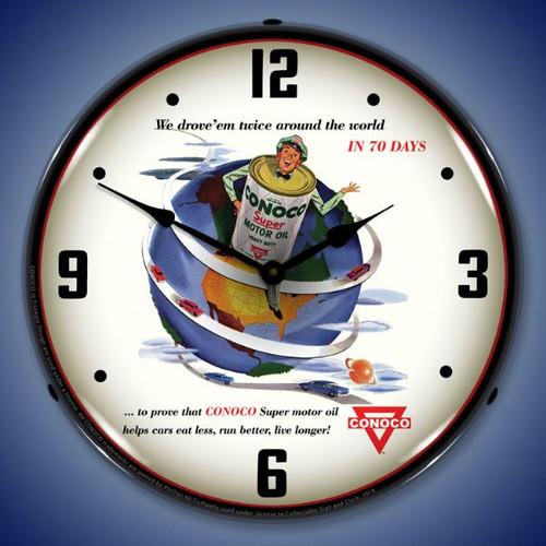 Conoco Super Motor Oil  Lighted Wall Clock 14 x 14 Inches