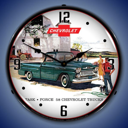 1958 Chevrolet Truck Lighted Wall Clock 14 x 14 Inches