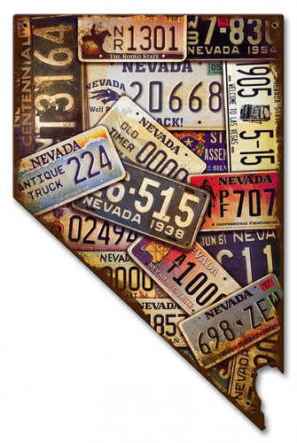 Nevada Map License Plates Metal Sign 10 x 16 Inches