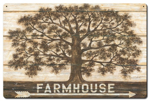 Farmhouse Tree Metal Sign 24 x 16 Inches