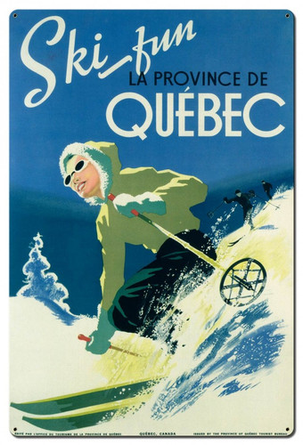 Ski Fun Quebec Metal Sign 24 x 36 Inches