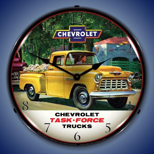 1955 Chevrolet Truck Task Force Lighted Wall Clock 14 x 14 Inches