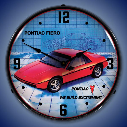 1984 Pontiac Fiero Lighted Wall Clock 14 x 14 Inches