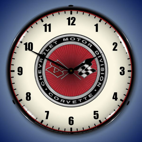 C3 Corvette 68-82 Lighted Wall Clock 14 x 14 Inches