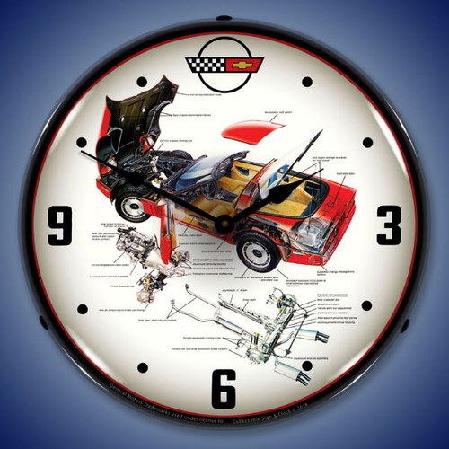C4 Corvette Tech Lighted Wall Clock 14 x 14 Inches