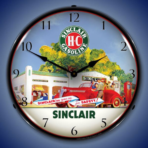 Sinclair Station Lighted Wall Clock 14 x 14 Inches