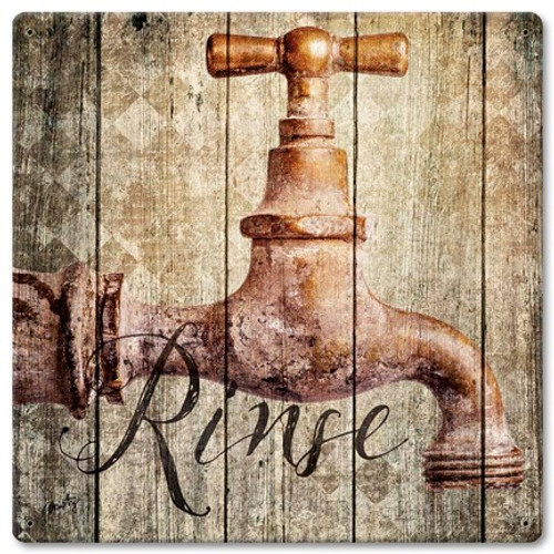 Rinse Metal Sign 12 x 12 Inches