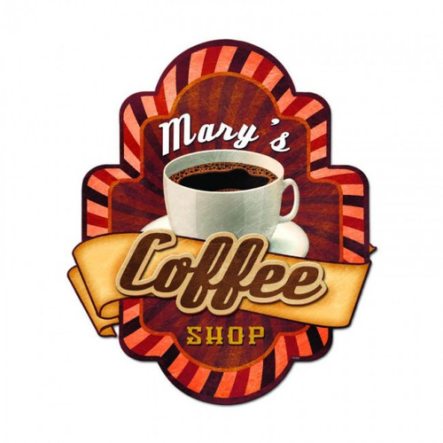 Coffee Shop 3-D Metal Sign - Personalized