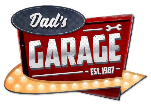 3-D Dad's Garage Metal Sign 23 x 15 Inches