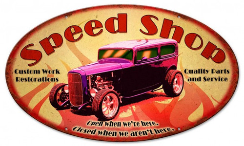 Speed Shop Metal Sign 24 x 12 Inches