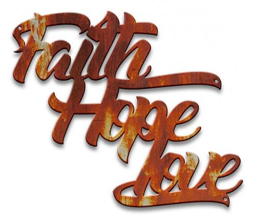 Faith Hope Love Metal Sign 14 x 12 Inches