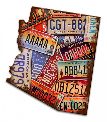 Arizona License Plates Metal Sign 11 x 12 Inches