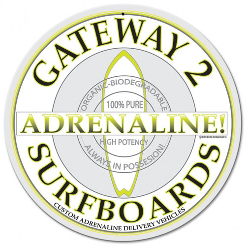 Gateway 2 Adrenaline Surfboards Metal Sign 14 x 14 Inches