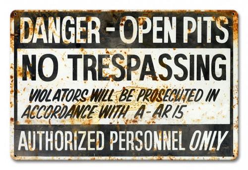 No Trespassing Rustic Metal Sign 18 x 12 Inches