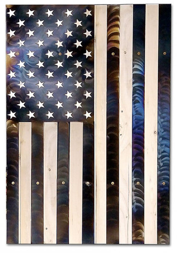 USA Vertical Flag Burnt Metal on Wood Sign 26 x 38 Inches