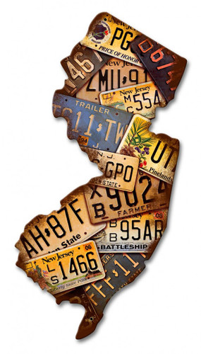 New Jersey License Plates Metal Sign 10 x 18 Inches