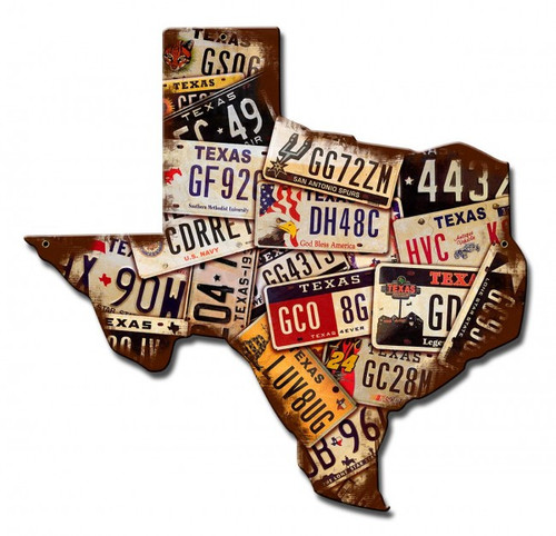 Texas License Plates Metal Sign 15 x 15 Inches