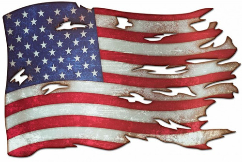 Tattered American Flag Metal Sign 36 x 24 Inches