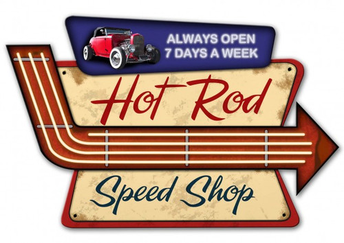 Hot Rod Speed Shop 3-D Metal Sign 23 x 15 Inches