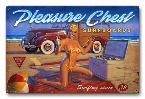 Pleasure Chest Pinup Metal Sign 36 x 24 Inches