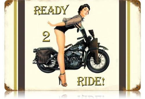 Vintage-Retro Ready to Ride Metal-Tin Sign