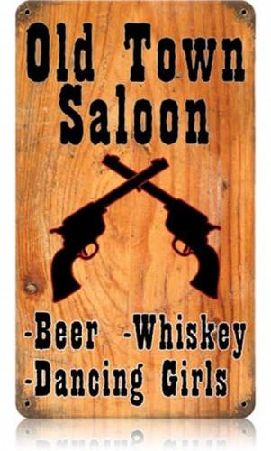 Vintage-Retro Old Town Saloon Metal-Tin Sign