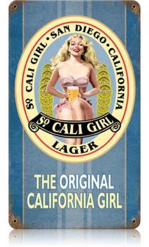 Vintage-Retro So Cali Girl Metal-Tin Sign