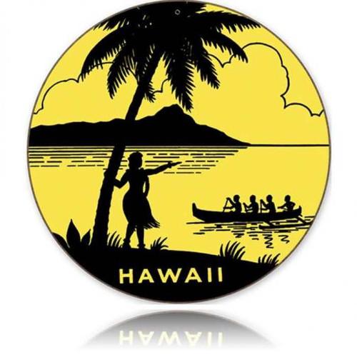 Vintage-Retro Hawaii Round Round Metal-Tin Sign