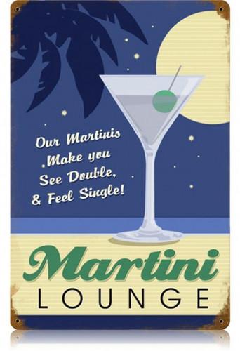 Vintage-Retro Martini Lounge Metal-Tin Sign