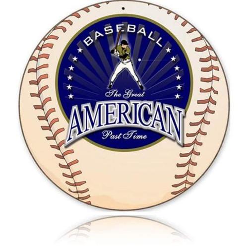 Vintage-Retro American Baseball Round Metal-Tin Sign