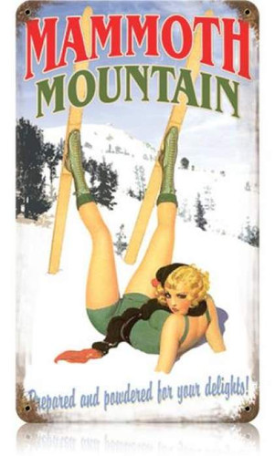 Vintage-Retro Mammoth Mountain - Pin-Up Girl Metal Sign -