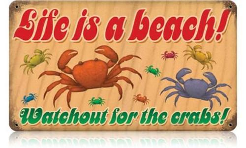 Vintage-Retro Lifes a Beach Crabs Metal-Tin Sign
