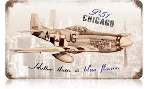 Vintage-Retro P-51 Chicago Metal-Tin Sign