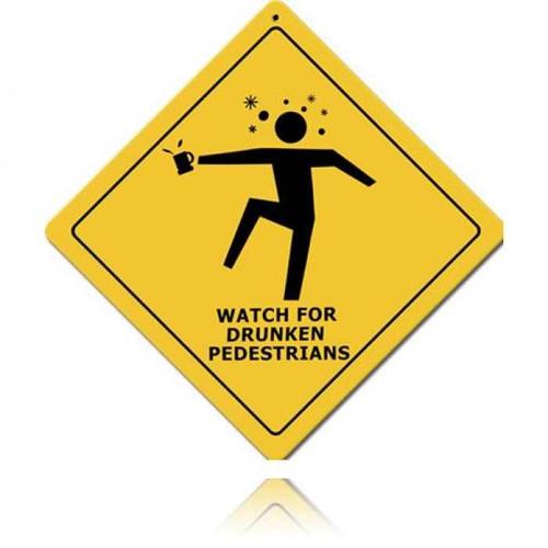 Vintage-Retro Drunken Pedestrians Metal-Tin Sign