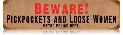 Vintage-Retro Beware Pickpockets Metal-Tin Sign