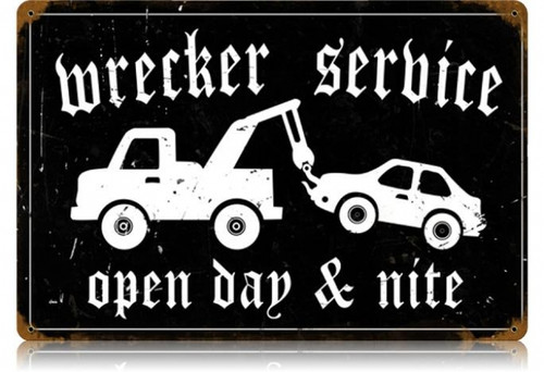 Vintage-Retro Wrecker Service Metal-Tin Sign