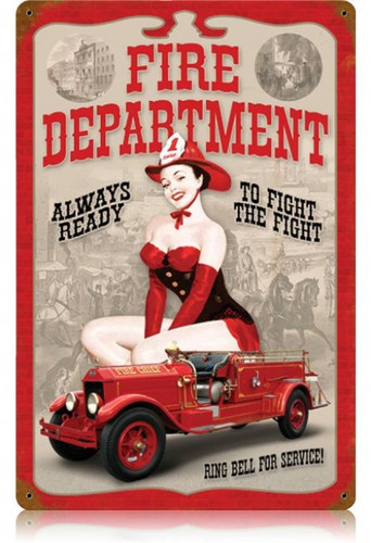 Vintage-Retro Fire Dept. Pin Up - Pin-Up Girl Metal Sign -