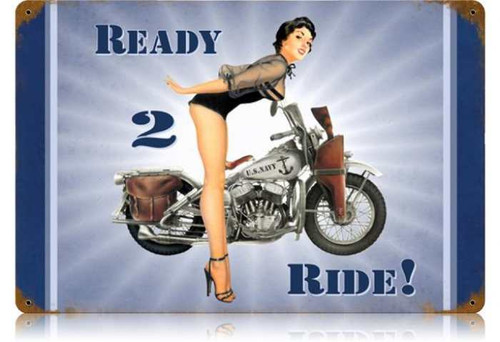 Vintage-Retro Navy Ready 2 Ride Metal-Tin Sign