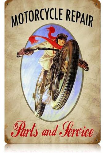 Vintage-Retro Motorcycle Repair Metal-Tin Sign